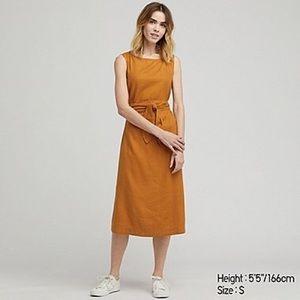 UNIQLO Gold Linen A-line Dress